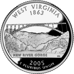 2005-P American 25-Cent State Quarter Series: West Virginia Brilliant Uncirculated Coin