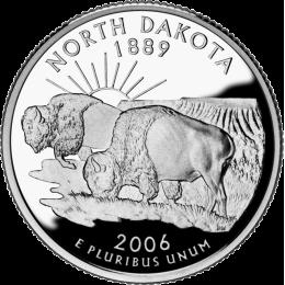 2006-P American 25-Cent State Quarter Series: North Dakota Brilliant Uncirculated Coin