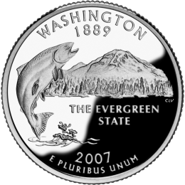 2007-P American 25-Cent State Quarter Series: Washington Brilliant Uncirculated Coin