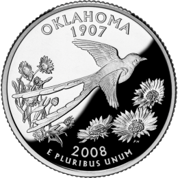 2008-P American 25-Cent State Quarter Series: Oklahoma Brilliant Uncirculated Coin
