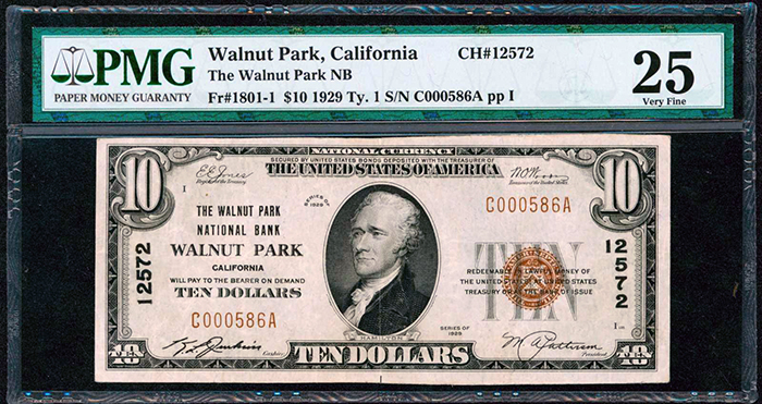 Front View - 1929 $10 Walnut Park, California US Banknote