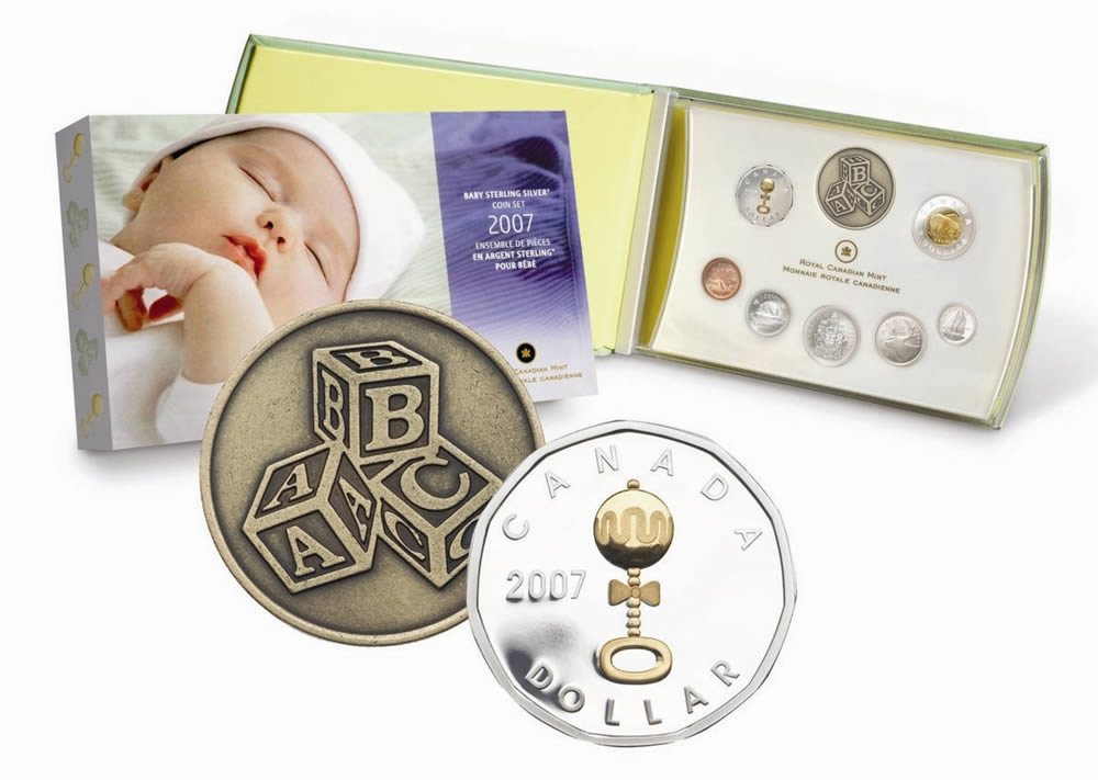 Baby Gift Gold Coin : Baby sterling silver gift coin set